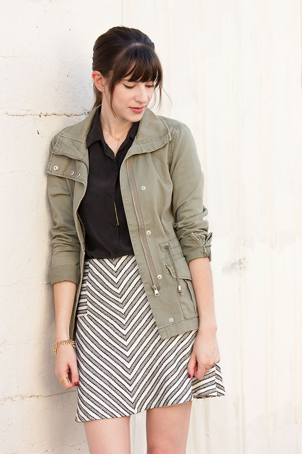Tweed Stripe Skirt, Everlane Blouse, Green Cargo Jacket
