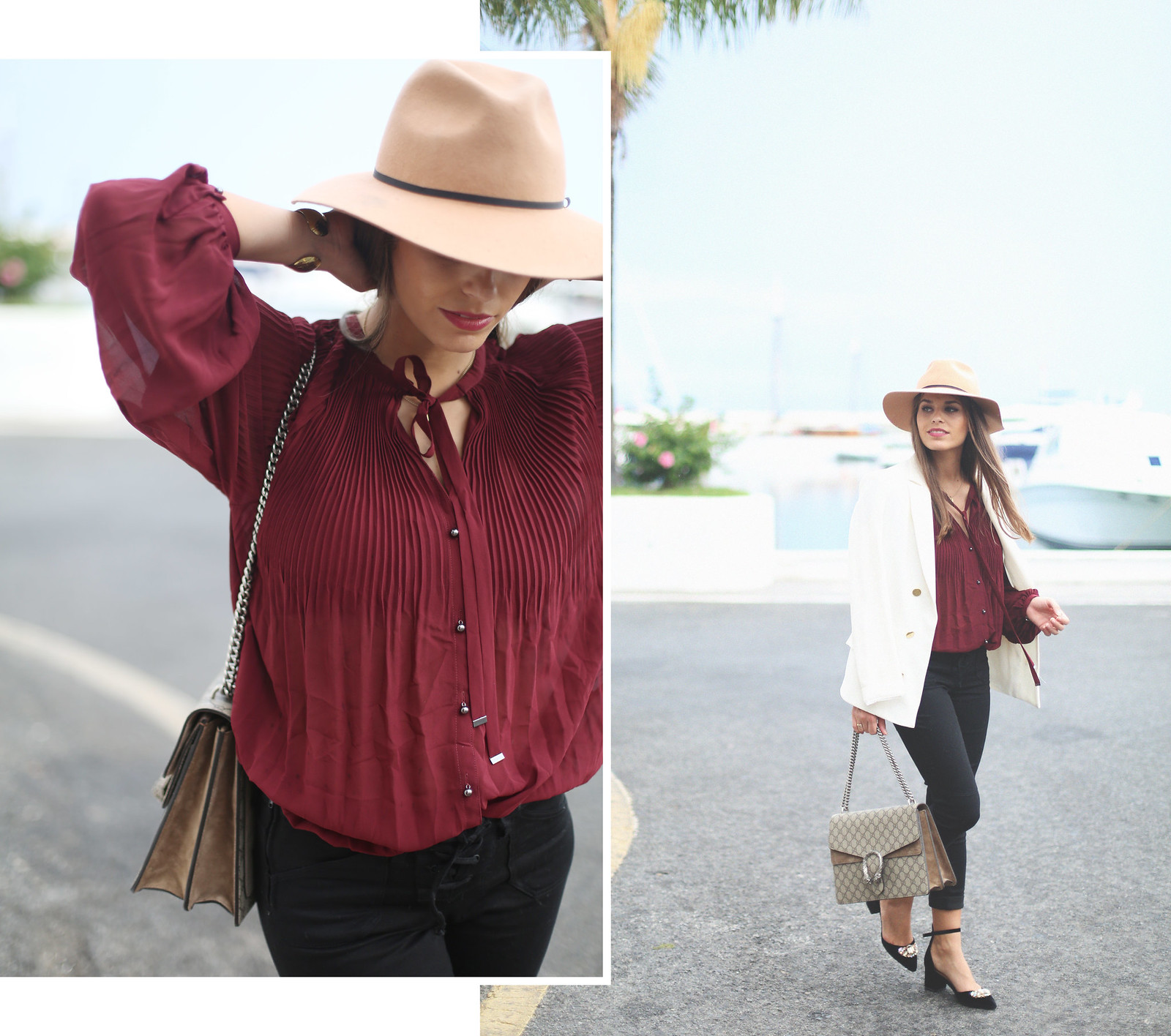 1. jessie chanes burgundy blouse cropped black jeans gucci bag