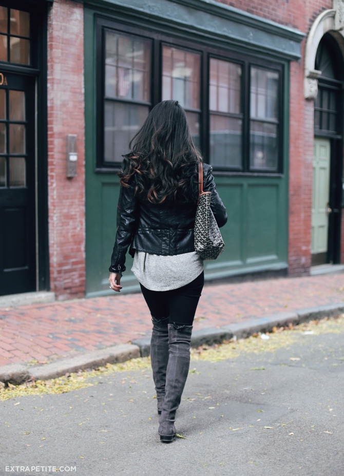 casual outfit boots plaid scarf moto jacket1