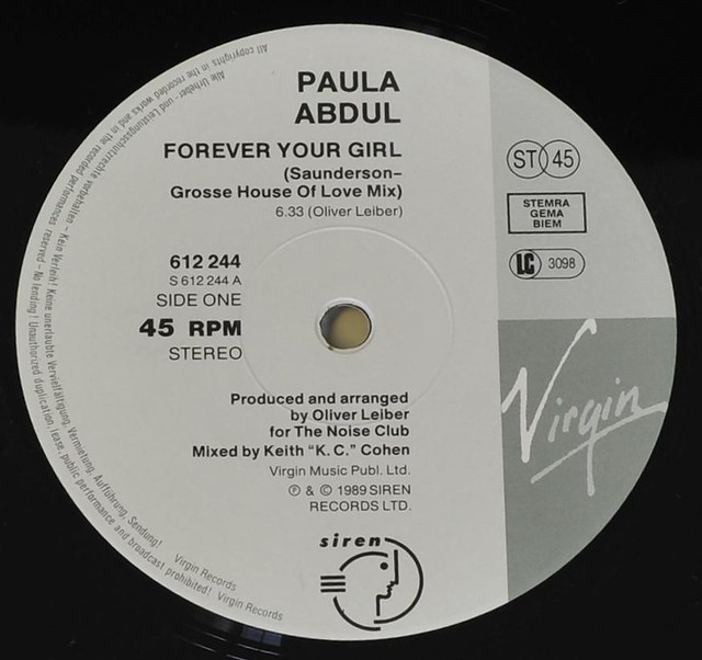 "PAULA ABDUL FOREVER YOUR GIRL 12"" MAXI VINYL"