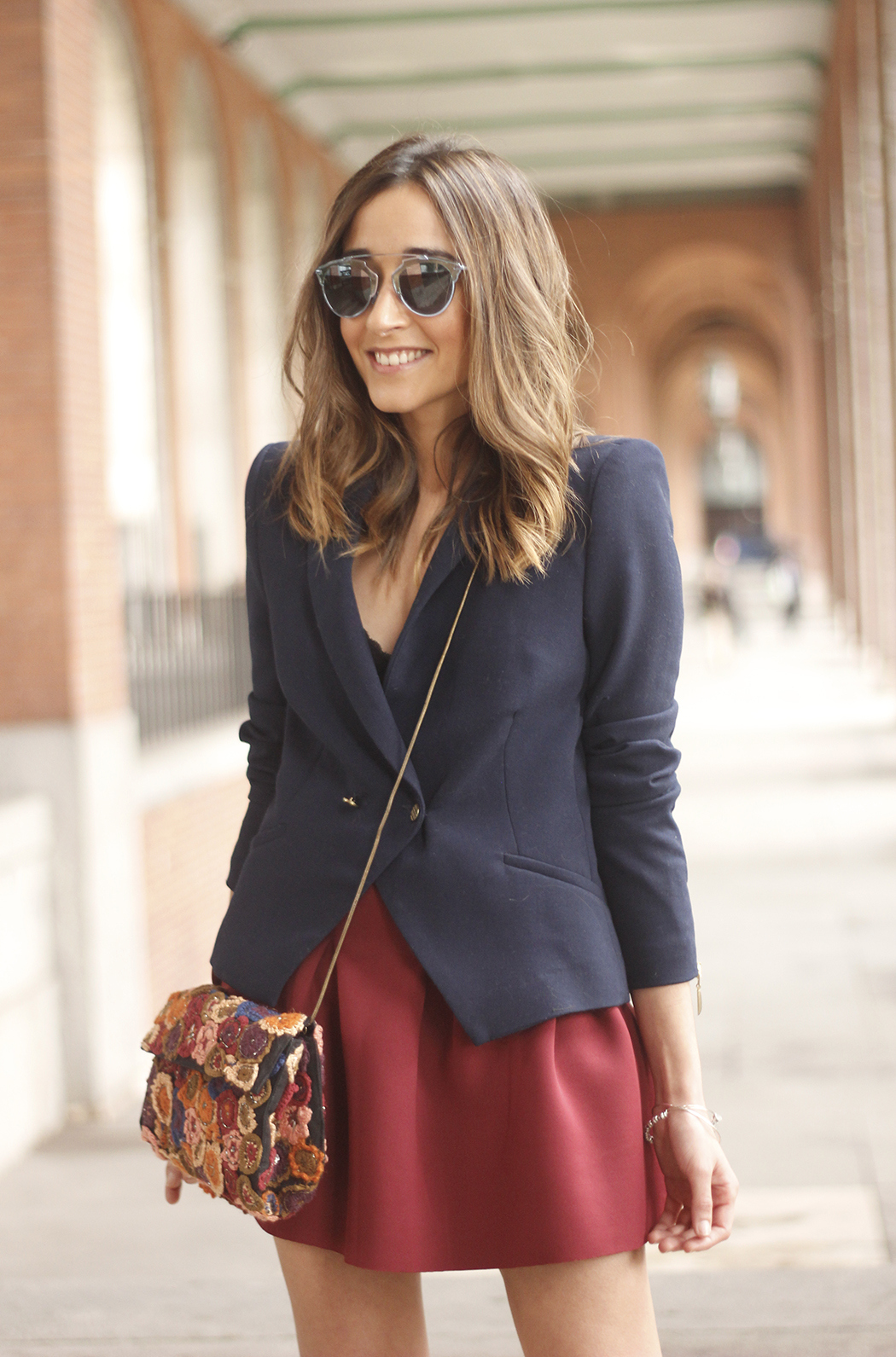 Blue Blazer Burgundy Skirt Outfit11