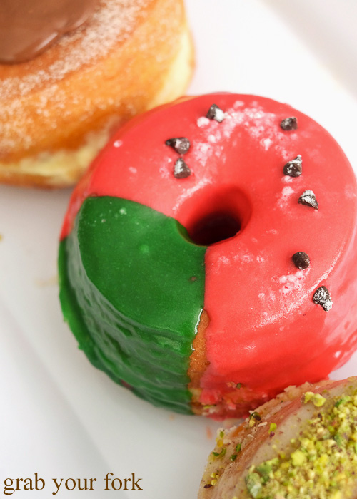 Melon Degeneres donut with sour watermelon glaze at Doughnut Time at Central Park, Chippendale