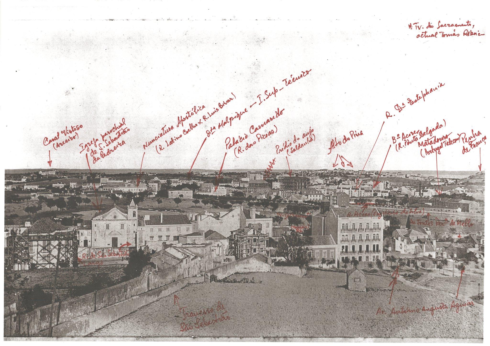 Panorâmica do alto de S. Sebastião, Lisboa (Esp. E. Portugal, c.1900)