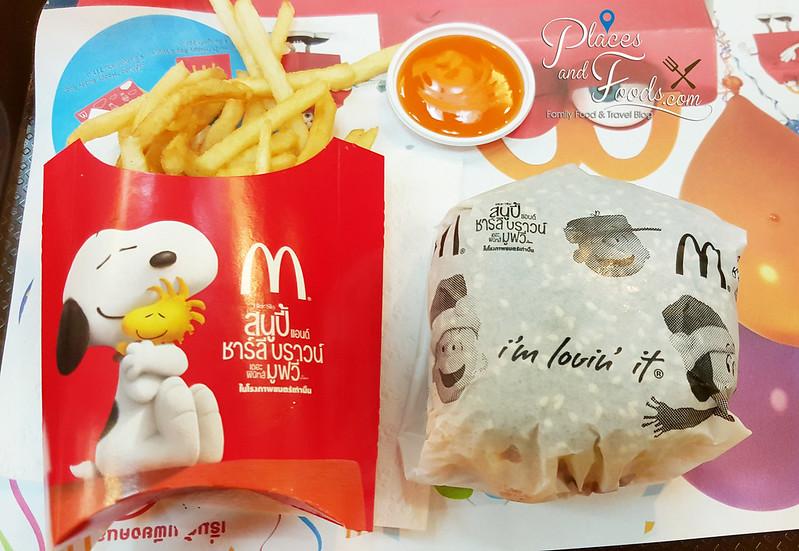 thai mcdonalds snoopy black burger set