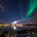moon, clouds and aurora by John A.Hemmingsen