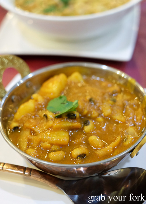 Aloo, bodi, tama - poatoes, black eyed beans and bamboo shoots at Annapurna Nepalese and Indian Restaurant, Homebush Sydney food blog review