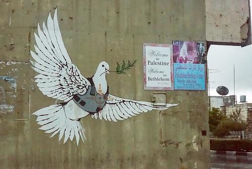 Some Banksy graffiti in Palestine. We saw graffiti everywhere, especially on the wall separating the West Bank from Jerusalem. Beautiful and yet sad. ☮ #travel #graffiti #westbank #bethlehem wal##bethlehem wal#wall #refugeecamp