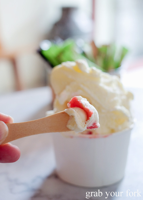 Mascarpone and strawberry gelato at Ciccone & Sons Gelateria, Redfern Sydney food blog review