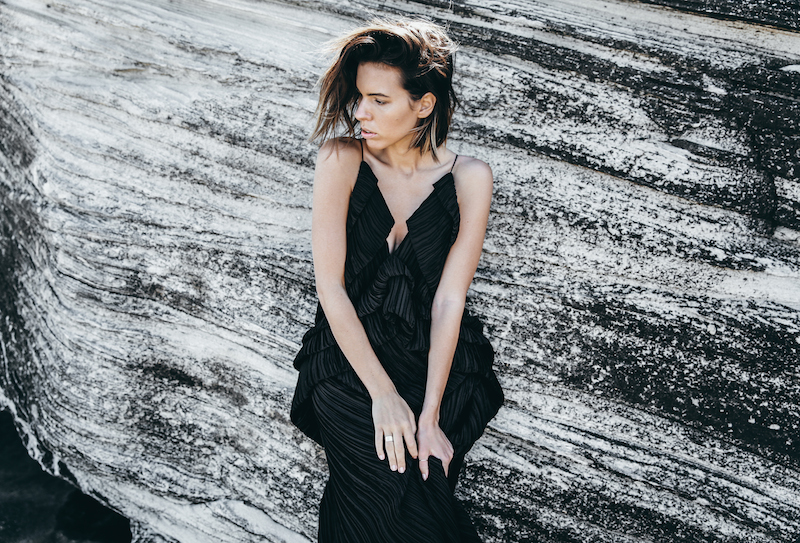 editorial new years eve all black outfit inspo Michael Lo Sordo gown beach modern legacy (6 of 10)
