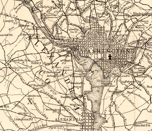Roberts Bicycle Map Washington DC and area 1896 - detail
