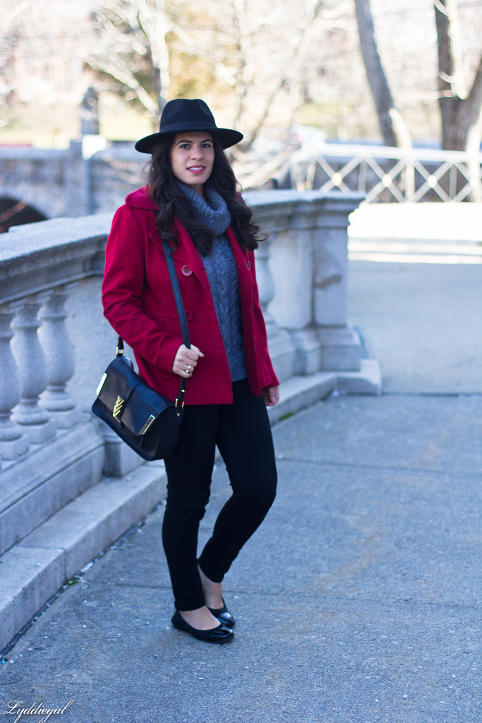 grey sweater, black denim, red peacoat, fedora.jpg