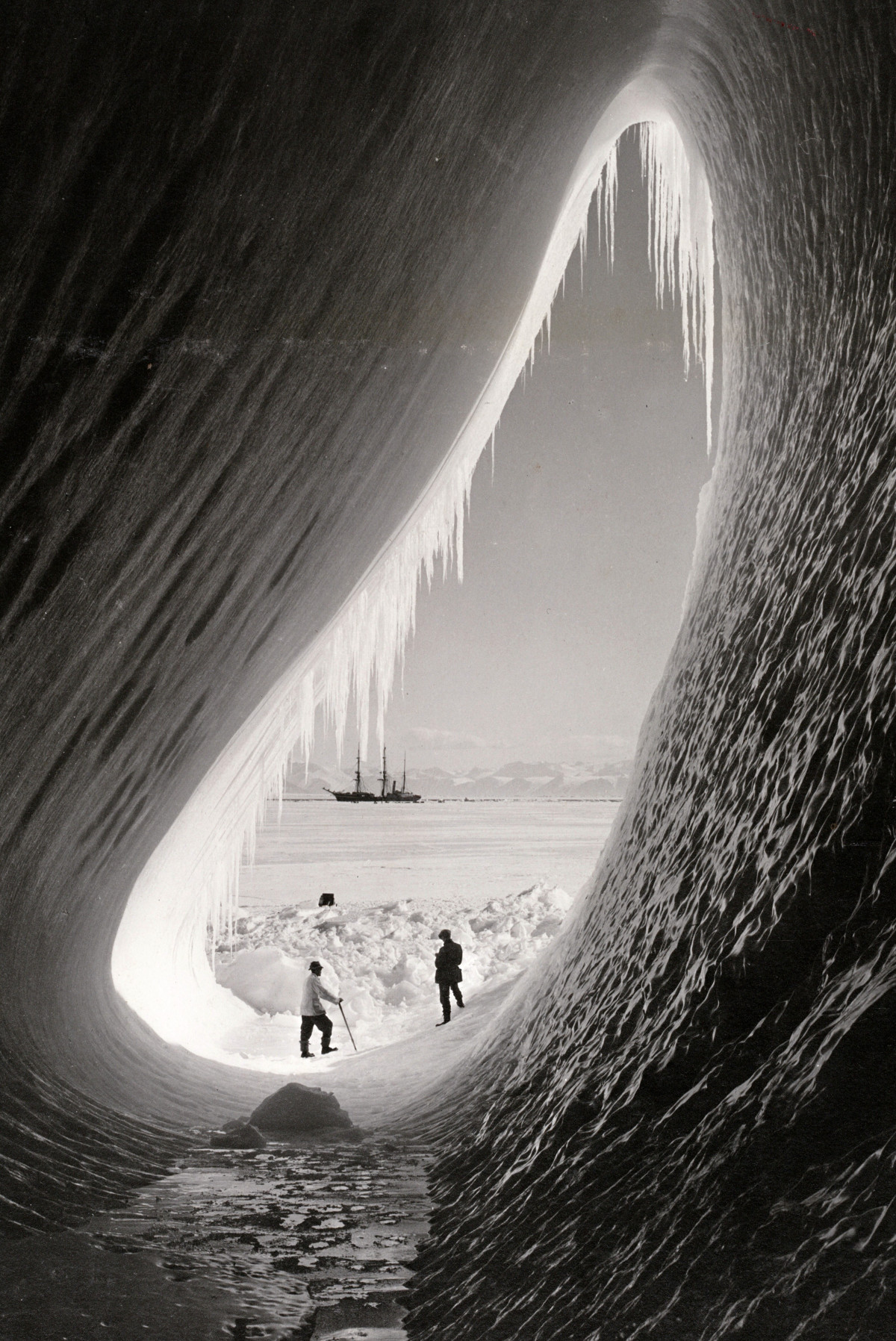 Grotto in an iceberg, photographed during the British Antarctic Expedition of 1911-1913