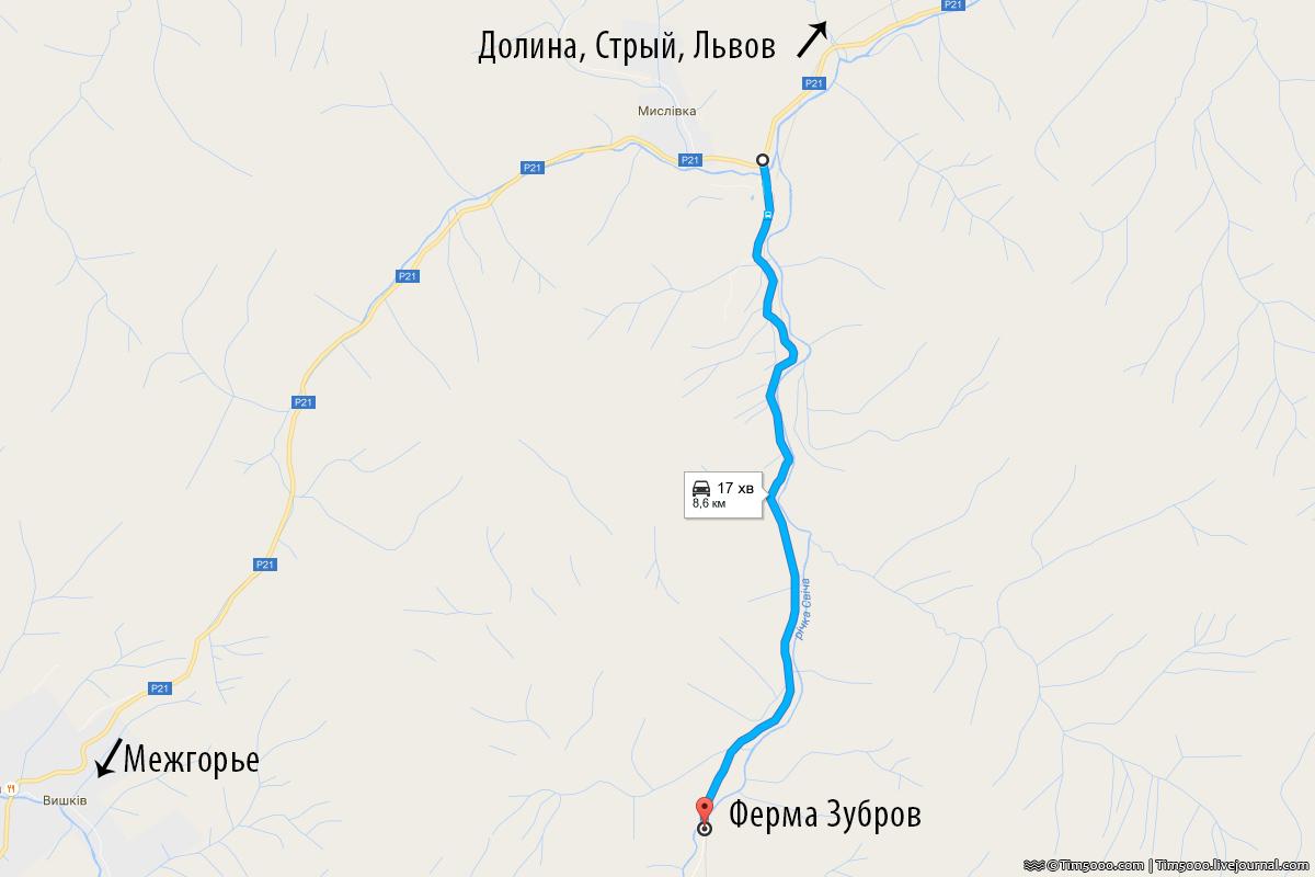 Карта проезда к Ферме Зубров