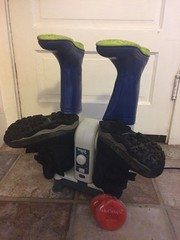 Home! Home to our boot dryer. Also used our HotSnapz hand warmers for the first time.