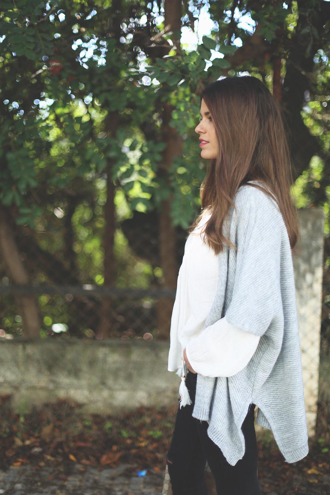 11. jessie chanes - grey poncho white boho blouse