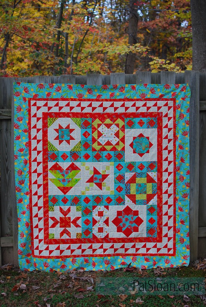pat sloan vacation time final quilt aqua