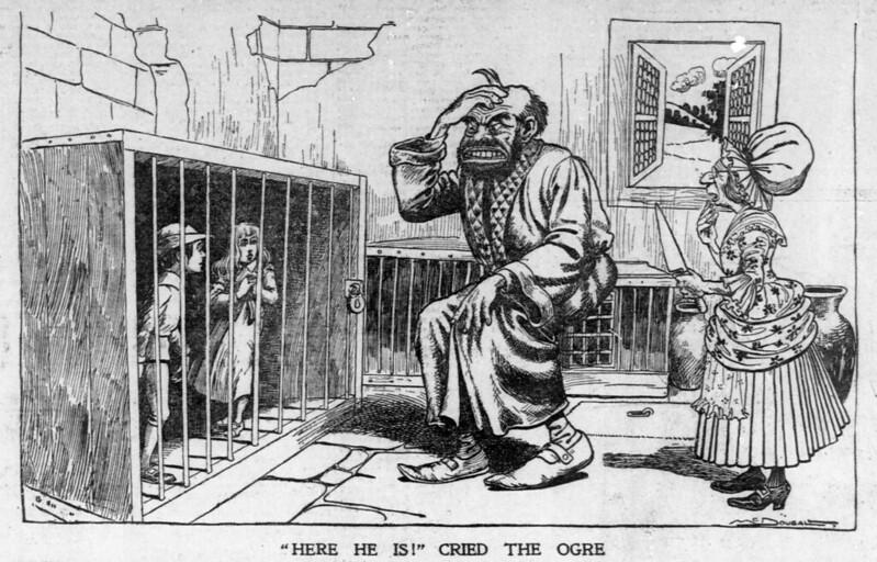 """Walt McDougall - The Salt Lake herald., November 30, 1902, """"Here He Is!"""" Cried The Ogre"""