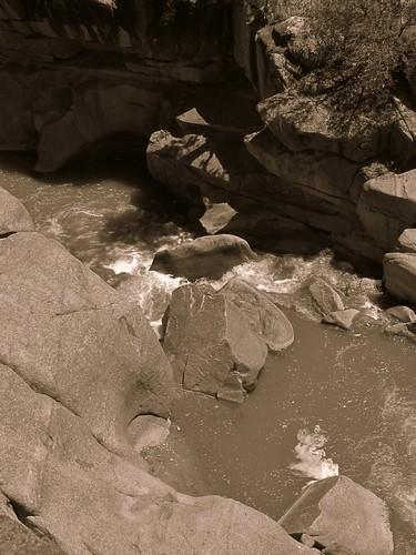 sepia rural colorado stream canyon erosion highdesert granite geology potholes escalantecanyon escalantecreek