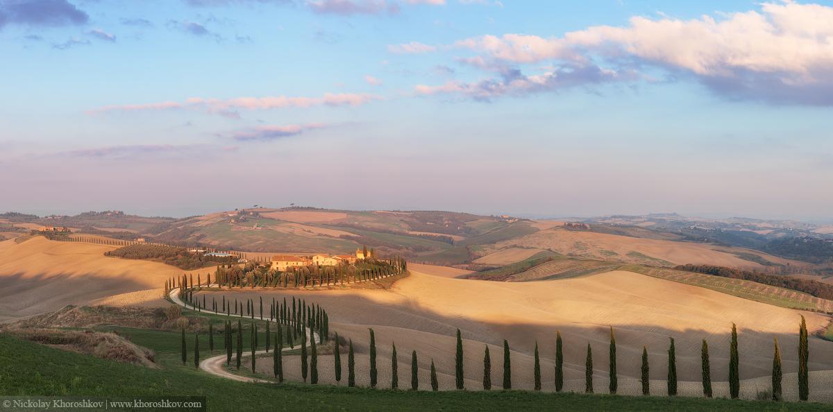 Panorama of Tuscany valley at sunny morning