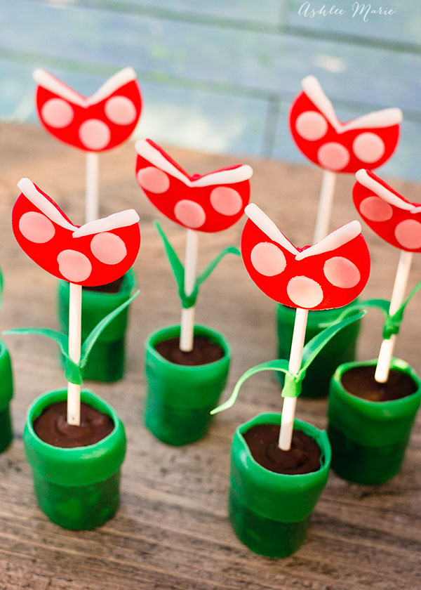 mario piranha plants coming out of tubes, made from oreo cookie pops and Airheads candies