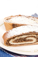 Closeup macro strudel with walnuts with copy space
