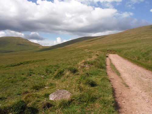 View back along the 'Old Roman Road' to the saddle between Fan y Big and Cribyn