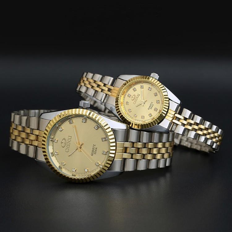 b690e144a88e Details about Most Popular Waterproof Mens   Womens Yellow Gold Crystal  Quartz Wrist Watches
