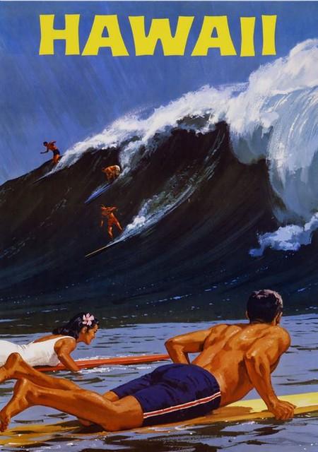 Hawaii Surfing ~ Vintage Hawaiian Travel Ad Poster