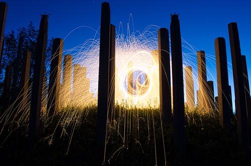 Steel wool spinning in Winnipeg.
