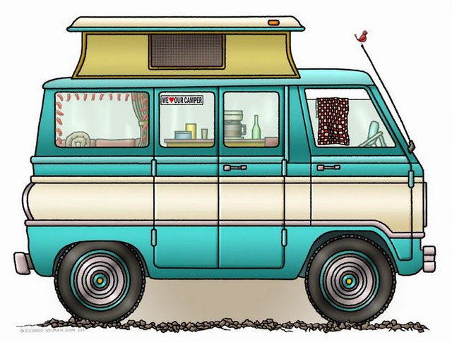 Whimsical Pop Top Camper Van