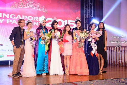 On the stage with the winners of Miss Singapore Beauty Pageant 2015