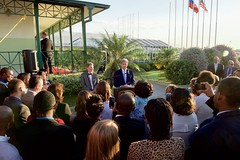 U.S. Secretary of State John Kerry, joined by U.S. Ambassador to Haiti Peter Mulrean, addresses U.S. Embassy Port-au-Prince, Haiti, employees before he departs Haiti, on October 6, 2015. [State Department photo/ Public Domain]