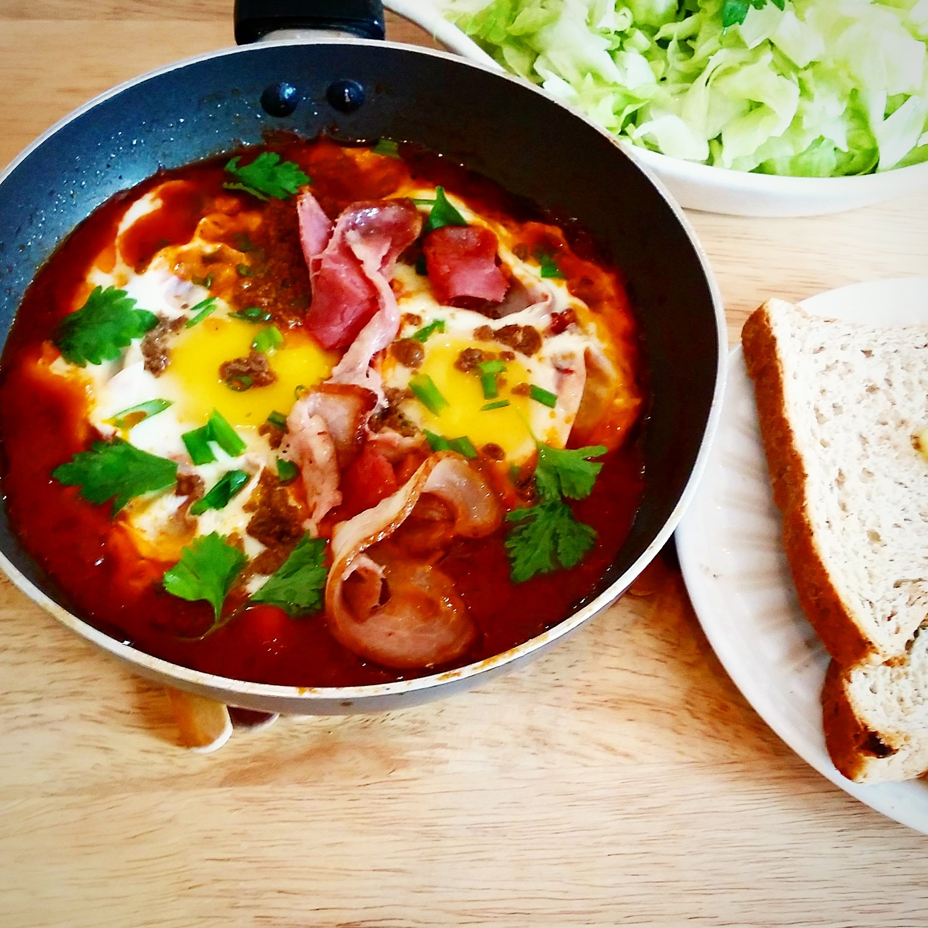 Shakshouka with Ground Beef and Bacon