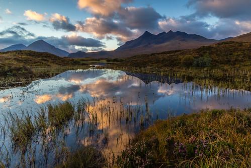 mountains skye water clouds sunrise canon reflections scotland glen hills loch nan cuillins isle munros munro cuillin sligachan sgurr marsco caol gillean