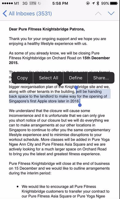 Pure Fitness Knightsbridge's Patron Email