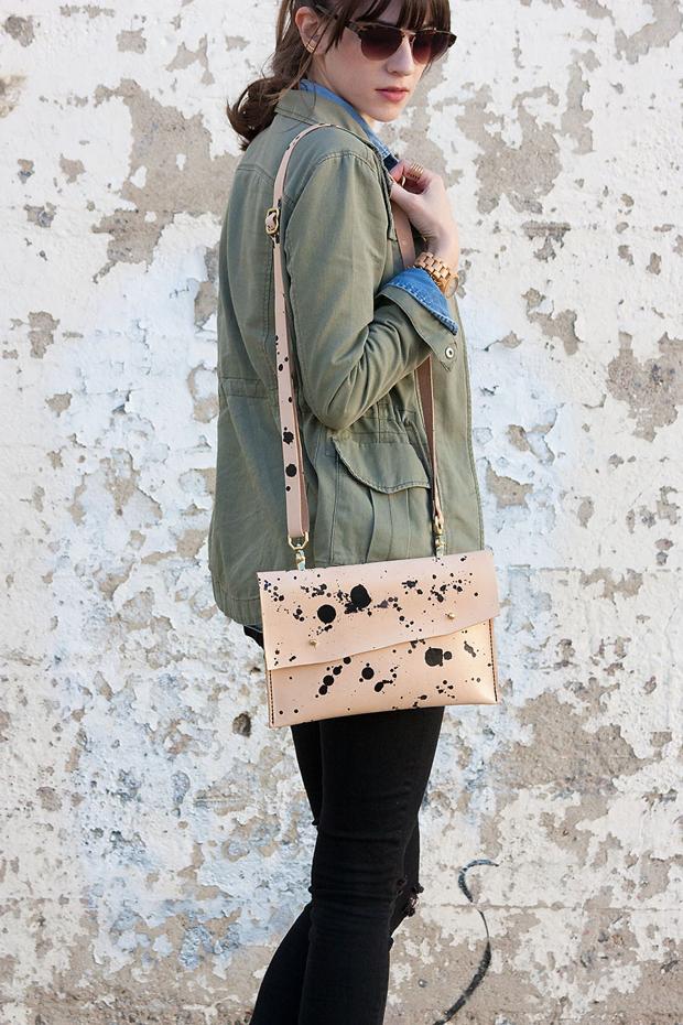 Speckled Clutch, Walter & George, Handmade Leather Clutch, Green Gargo Jacket