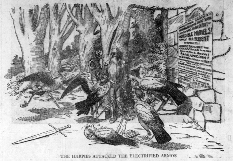 Walt McDougall - The Salt Lake herald., August 14, 1904, Last Edition, The Harpies Attacked The Electrified Armor