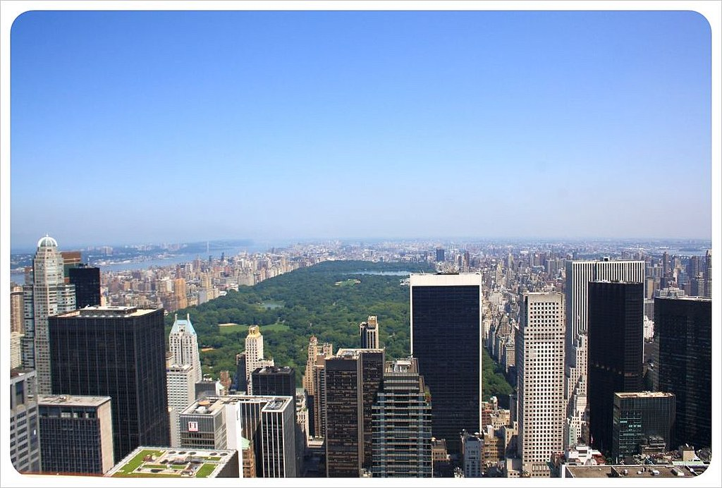 Manhattan skyscrapers & Central Park from top of the rock