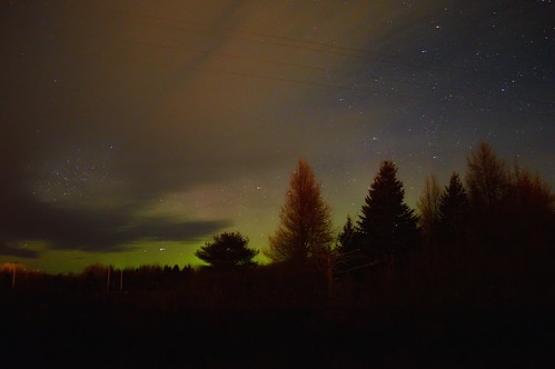 Shy Dancer. Aurora peeking through clouds Nov 29 2015 Miramichi area NB Canada