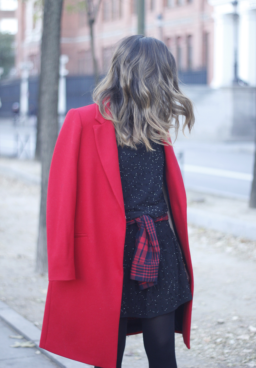 Red Coat With Party Black Dress Mango Outfit Style 08