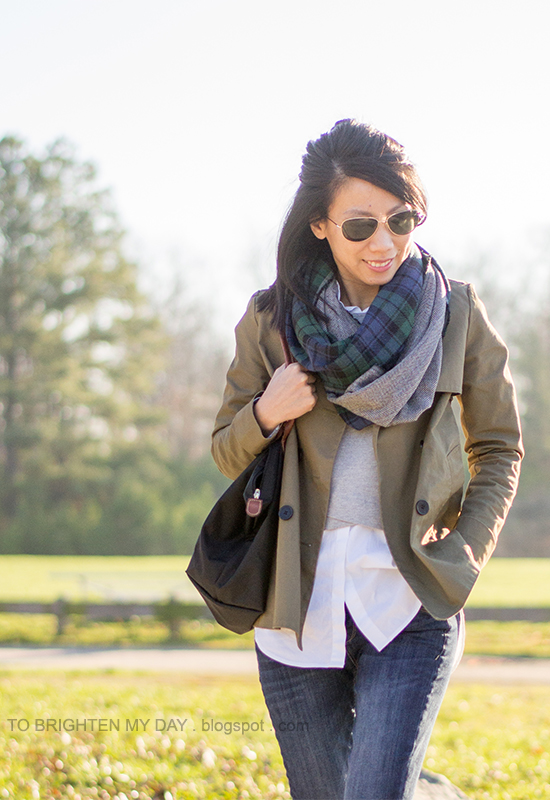 green plaid and herringbone infinity scarf, green swing trench jacket, gray vest, white button up shirt, skinny jeans
