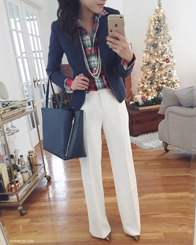 white trouser pants christmas work outfit