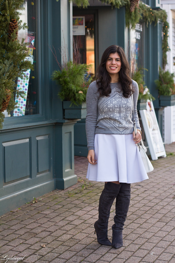grey sweater, white skirt, over the knee boots-2.jpg