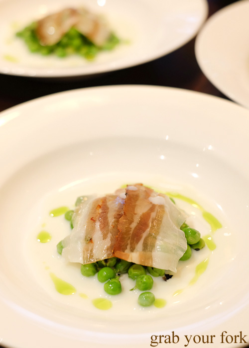 Char grilled fresh peas, homemade buttermilk and pancetta