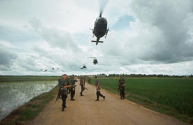 Vietnam War 1968 - Troops Awaiting Helicopter Transport