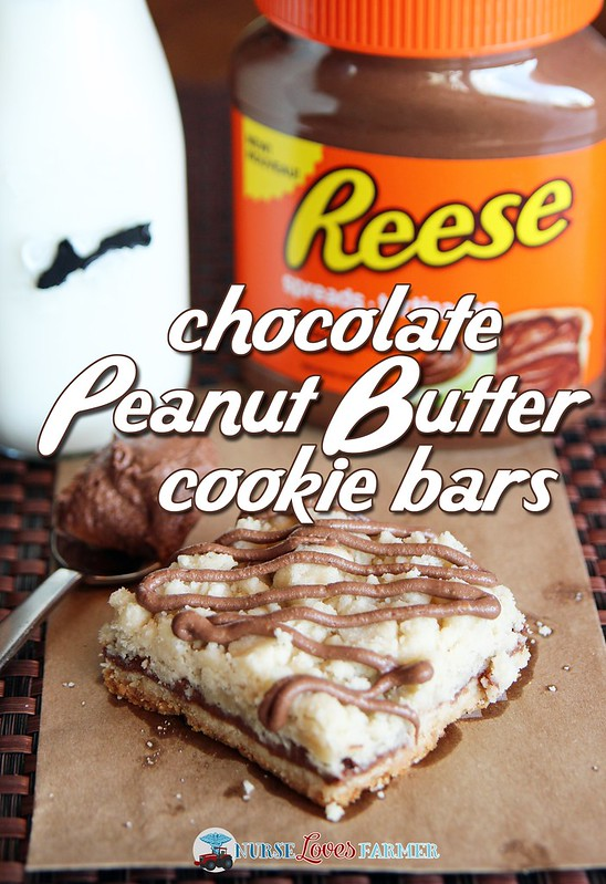 Chocolate Peanut Butter Cookie Bars. Looking for a way to use the delicious new Reese Peanut Butter Spread? Try these cookie bars! #DoYouSpoon