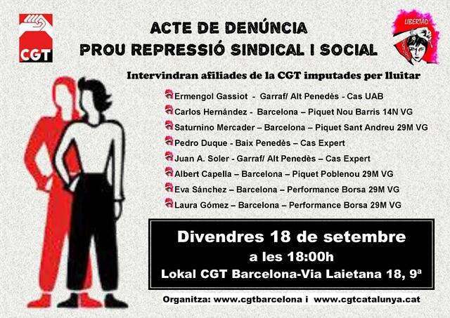 Acte de denúncia prou repressió social i sindical, el 18 de setembre a Barcelona