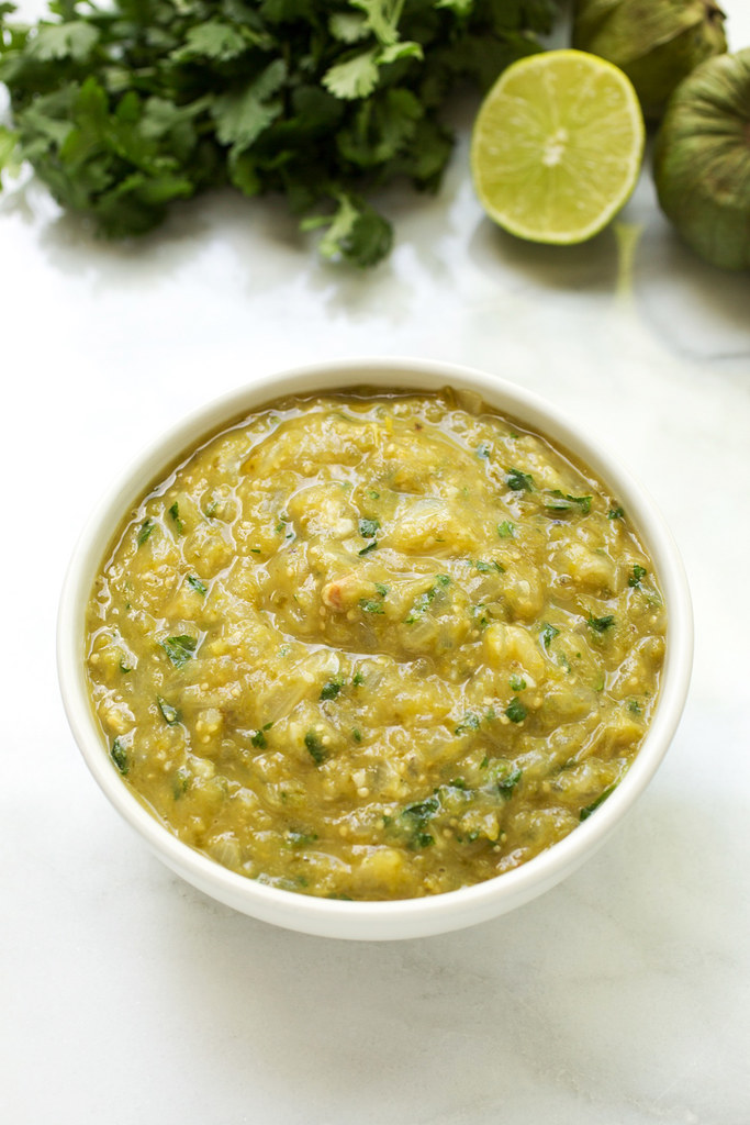 Roasted Tomatillo Salsa in bowl