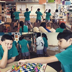 After eating lunch together in my classroom today, some of the #7Pgu kiddos danced to #watchme (whip/nae nae) just because. Then there was chess, some singing and other simple silliness like playing badminton with paper and our hands. I hope it made them