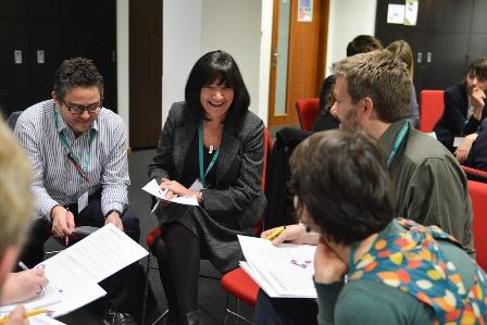 Delegates talking together